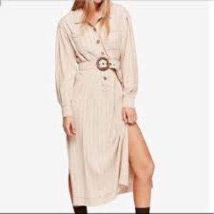 Free People Audrey Belted Shirt Dress in Neutral